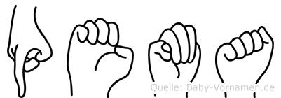 Pema im Fingeralphabet der Deutschen Gebärdensprache
