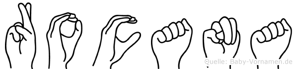 Rocana im Fingeralphabet der Deutschen Gebärdensprache