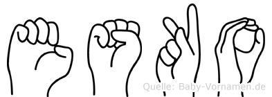 Esko im Fingeralphabet der Deutschen Gebärdensprache