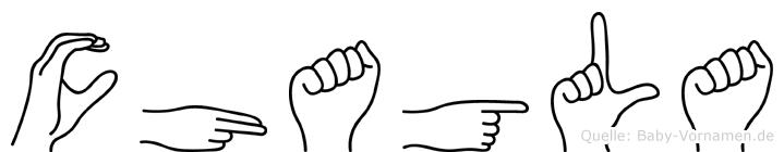 Chagla im Fingeralphabet der Deutschen Gebärdensprache