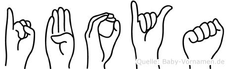 Iboya im Fingeralphabet der Deutschen Gebärdensprache