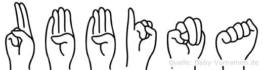 Ubbina in Fingersprache für Gehörlose