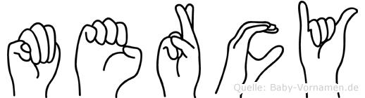 Mercy im Fingeralphabet der Deutschen Gebärdensprache