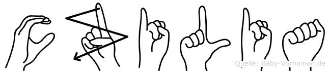 Cäzilia im Fingeralphabet der Deutschen Gebärdensprache