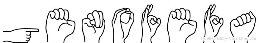 Genofefa im Fingeralphabet der Deutschen Gebärdensprache