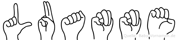 Luanne im Fingeralphabet der Deutschen Gebärdensprache
