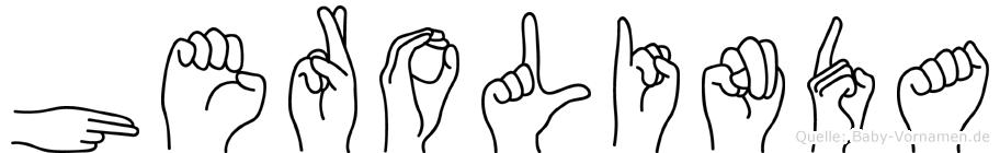Herolinda im Fingeralphabet der Deutschen Gebärdensprache