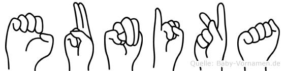 Eunika in Fingersprache für Gehörlose