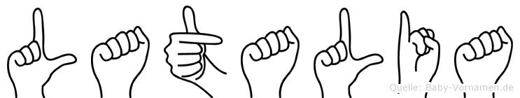 Latalia im Fingeralphabet der Deutschen Gebärdensprache