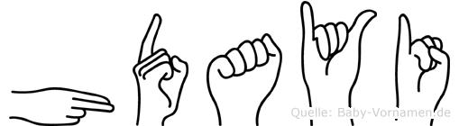 Hüdayi im Fingeralphabet der Deutschen Gebärdensprache