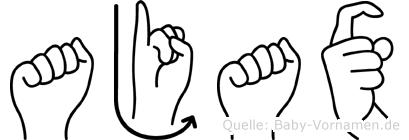Ajax im Fingeralphabet der Deutschen Gebärdensprache