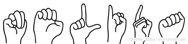 Nelida im Fingeralphabet der Deutschen Gebärdensprache