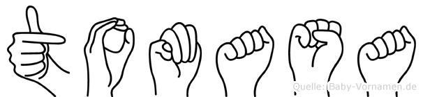 Tomasa im Fingeralphabet der Deutschen Gebärdensprache