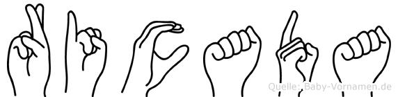 Ricada im Fingeralphabet der Deutschen Gebärdensprache