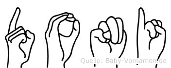 Doni im Fingeralphabet der Deutschen Gebärdensprache