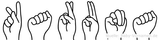 Karuna im Fingeralphabet der Deutschen Gebärdensprache