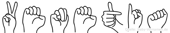 Venetia im Fingeralphabet der Deutschen Gebärdensprache
