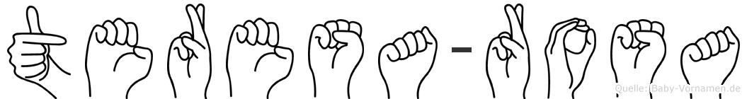 Teresa-Rosa im Fingeralphabet der Deutschen Gebärdensprache