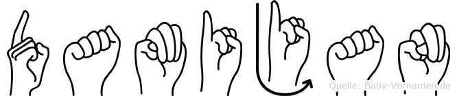 Damijan im Fingeralphabet der Deutschen Gebärdensprache