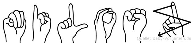 Milosz im Fingeralphabet der Deutschen Gebärdensprache