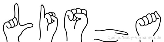 Lisha im Fingeralphabet der Deutschen Gebärdensprache