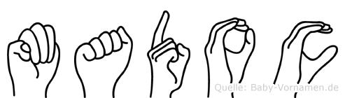 Madoc im Fingeralphabet der Deutschen Gebärdensprache