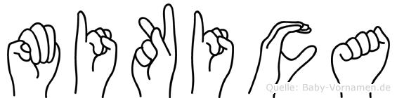 Mikica im Fingeralphabet der Deutschen Gebärdensprache