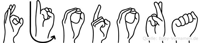 Fjodora im Fingeralphabet der Deutschen Gebärdensprache