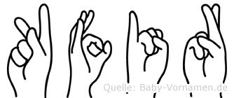Kfir im Fingeralphabet der Deutschen Gebärdensprache