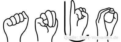 Anjo im Fingeralphabet der Deutschen Gebärdensprache