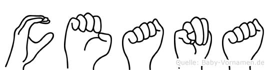 Ceana im Fingeralphabet der Deutschen Gebärdensprache
