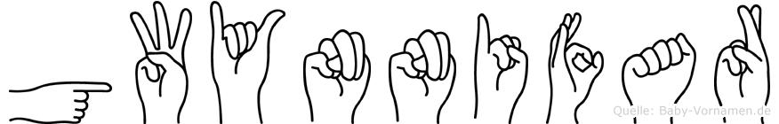 Gwynnifar im Fingeralphabet der Deutschen Gebärdensprache