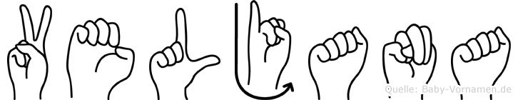 Veljana im Fingeralphabet der Deutschen Gebärdensprache