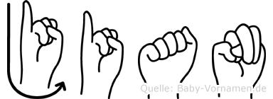 Jian im Fingeralphabet der Deutschen Gebärdensprache