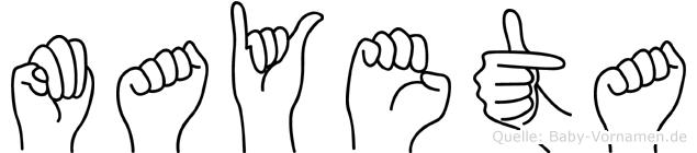 Mayeta im Fingeralphabet der Deutschen Gebärdensprache
