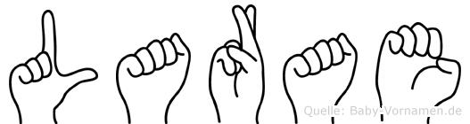 Larae im Fingeralphabet der Deutschen Gebärdensprache