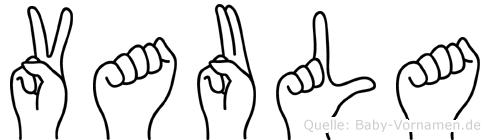 Vaula im Fingeralphabet der Deutschen Gebärdensprache