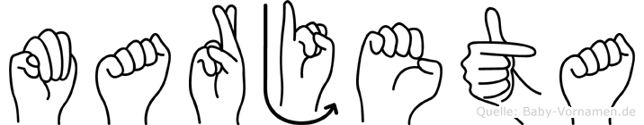 Marjeta im Fingeralphabet der Deutschen Gebärdensprache
