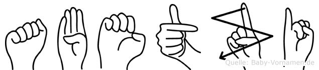 Abetzi im Fingeralphabet der Deutschen Gebärdensprache