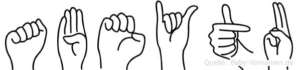 Abeytu im Fingeralphabet der Deutschen Gebärdensprache