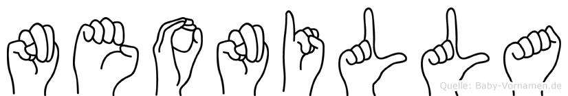 Neonilla im Fingeralphabet der Deutschen Gebärdensprache