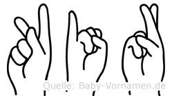 Kir im Fingeralphabet der Deutschen Gebärdensprache