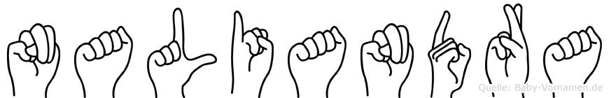 Naliandra im Fingeralphabet der Deutschen Gebärdensprache
