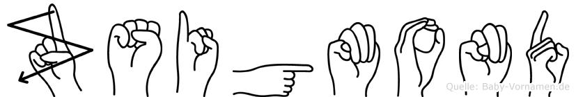 Zsigmond im Fingeralphabet der Deutschen Gebärdensprache