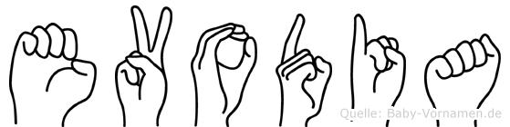 Evodia im Fingeralphabet der Deutschen Gebärdensprache