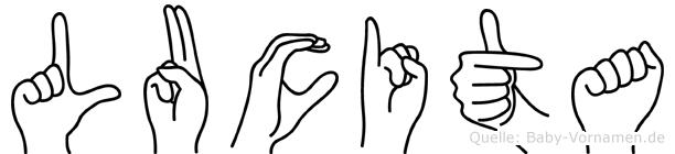 Lucita im Fingeralphabet der Deutschen Gebärdensprache
