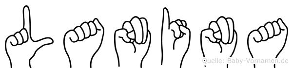 Lanina im Fingeralphabet der Deutschen Gebärdensprache