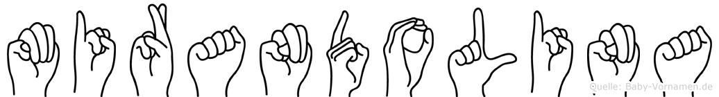 Mirandolina im Fingeralphabet der Deutschen Gebärdensprache