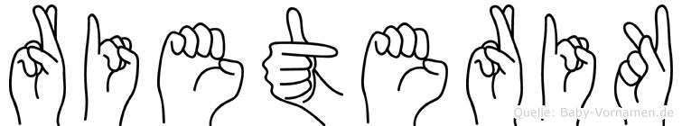 Rieterik im Fingeralphabet der Deutschen Gebärdensprache