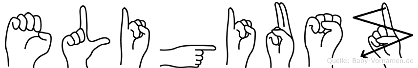 Eligiusz im Fingeralphabet der Deutschen Gebärdensprache
